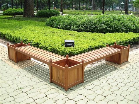 garden box bench double bench and flower box combo v295