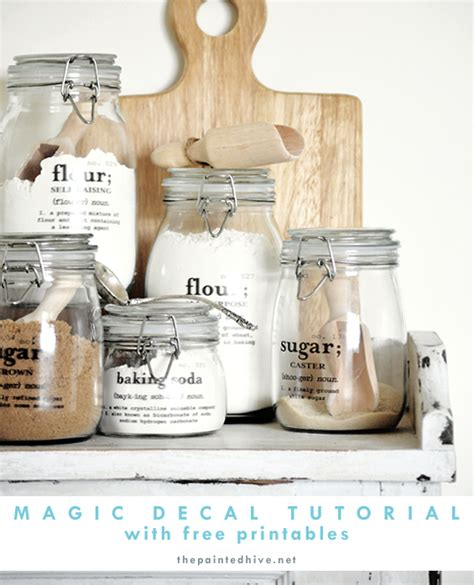 Kitchen Canister Definition The Painted Hive Magic Decal Tutorial With Free Printables
