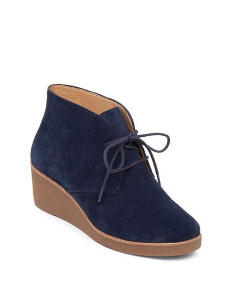 Wedge Heel Lace Up Boots Blue lucky brand lace up suede platform wedge shoes in blue