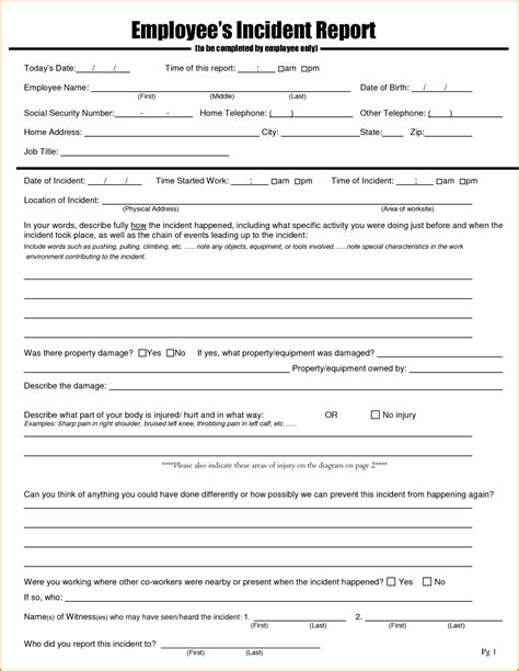 Employee Incident Report Forms Charlotte Clergy Coalition Lost Time Injury Report Template
