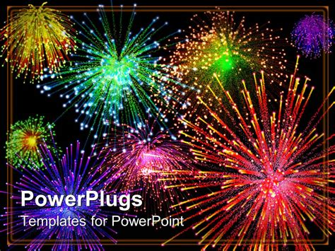 Fireworks Powerpoint Animation Powerpoint Template Multicolored Fireworks Light Up Night Sky Red Green Yellow Purple 12327