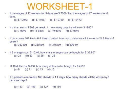 all worksheets 187 direct proportion word problems
