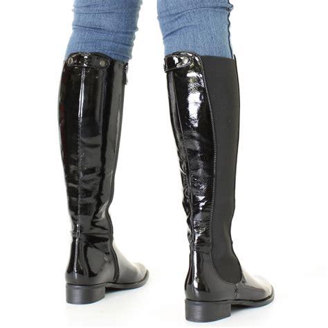 womens black patent knee high flat chelsea style slim fit