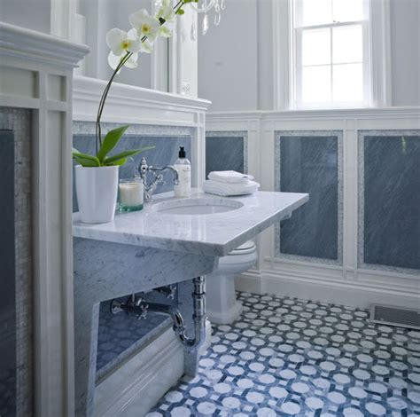 Blue And White Bathroom Floor Tiles by 36 Blue Ceramic Floor Tile For Bathroom Ideas And Pictures