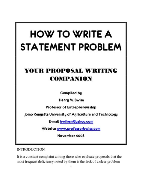 problem statement template how to write a statement problem