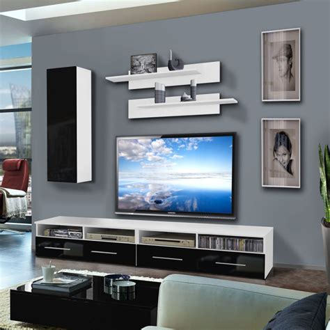 Meuble Tv Mural Noir by Meuble Tv Mural Quot Clevo I Quot 240cm Noir Blanc