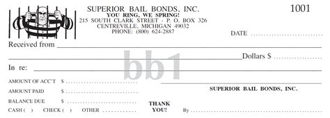 free bond receipt template superior receipt book company printing services bail bonds