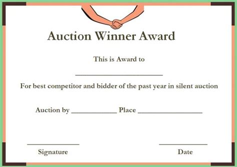 Silent Auction Certificates 18 Official And Beautiful Templates Demplates Auction Winner Certificate Template