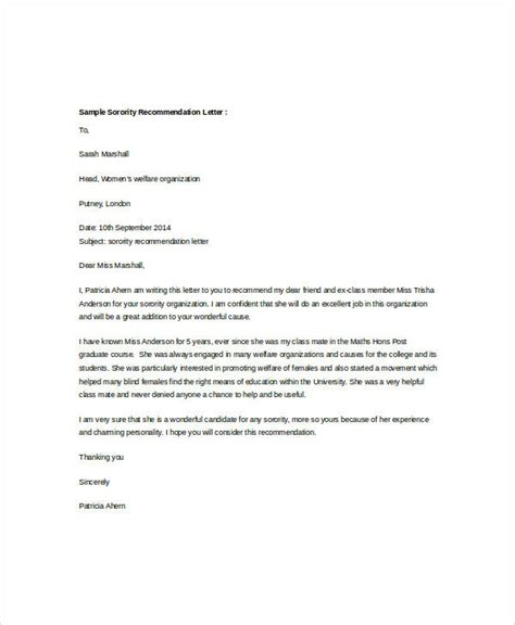 sorority recommendation letter 40 exles of recommendation letter sle templates