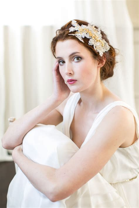 Handmade Bridal Headpieces - gold orchid lace headpiece millesime