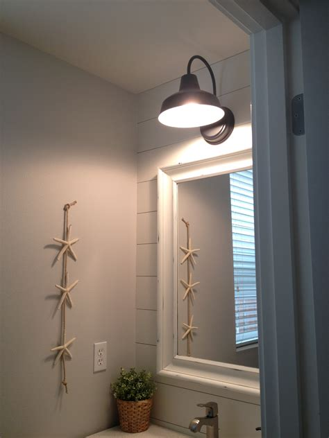 barn lights for bathroom barn wall sconce lends farmhouse look to powder room