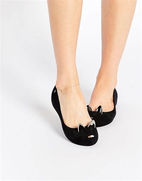 ultragirl black cat flat shoes at asos