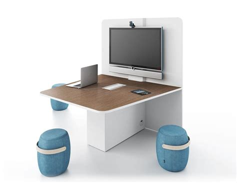 Media Table by Office Table With The Wall Pre Equipped Ideal For Offices