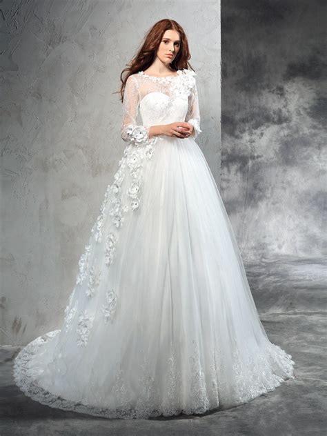 Robe De Mariée Marquise Manche Longue - robe de bal sheer neck fleurs faites 224 la manches
