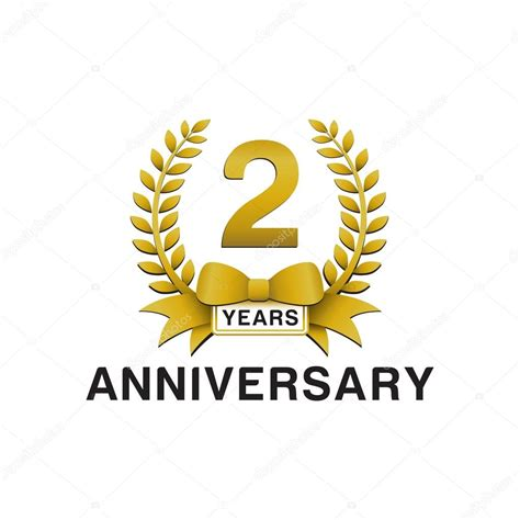 2nd anniversary golden wreath logo stock vector 86352424