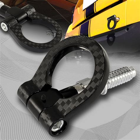 Racing Tow Hook jdm black aluminum front or rear carbon look racing tow