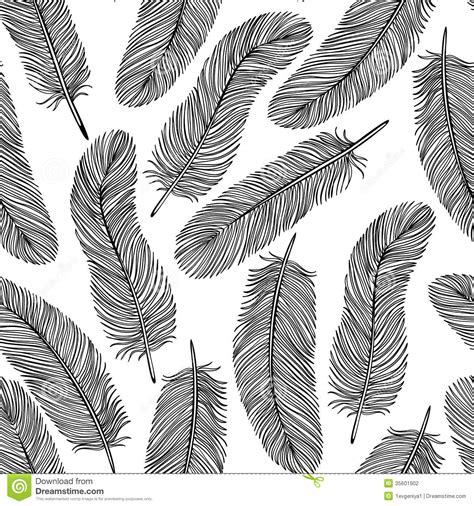 black and white feather pattern black and white feather seamless background stock