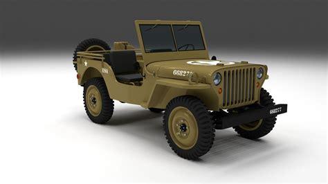 desert military jeep full w chassis jeep willys mb military desert 3d model obj