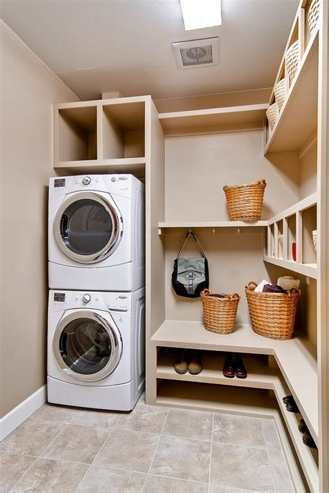 Shelf Ideas For Kitchen by Stackable Washer And Laundry Room Traditional With Stacked