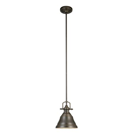 Small Pendant Lights Shop Allen Roth 8 In W Bronze Mini Pendant Light With Metal Shade At Lowes