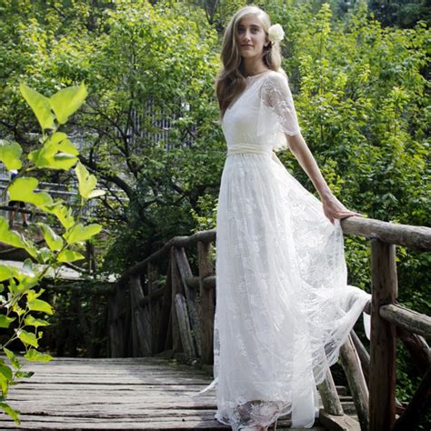 romantic bohemian beach lace wedding dress elegant