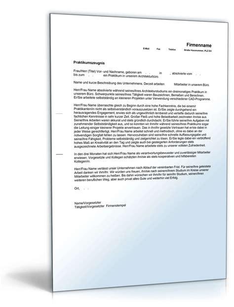Praktikumszeugnis Praktikum Vorlagen praktikumszeugnis bauzeichner note eins muster zum