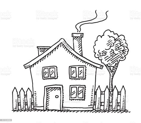 cartoon house drawing stock illustration