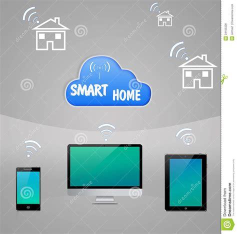 smart home cloud technology stock illustration