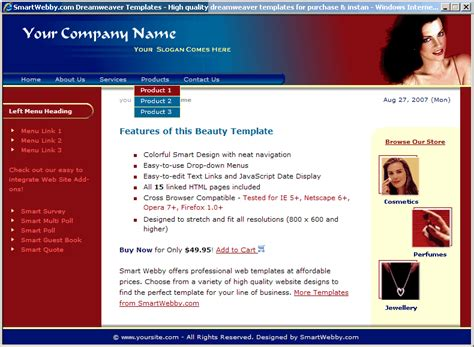 basic dreamweaver templates simple template
