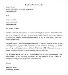 breaking lease letter template lease termination letter templates 23 free sle