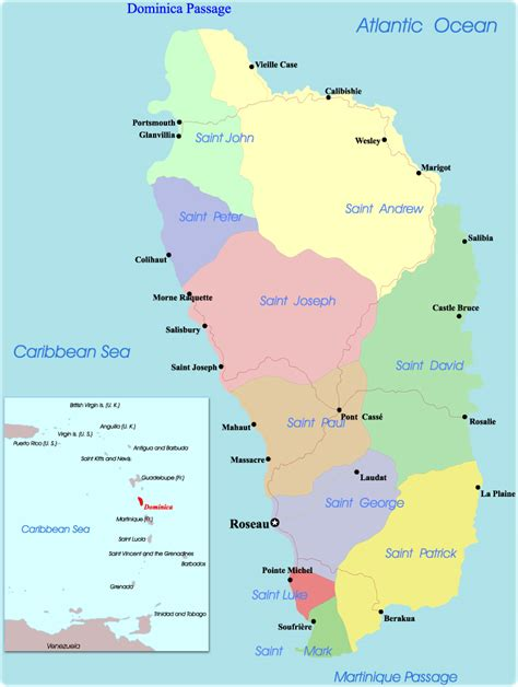 dominica map map of dominica portsmouth