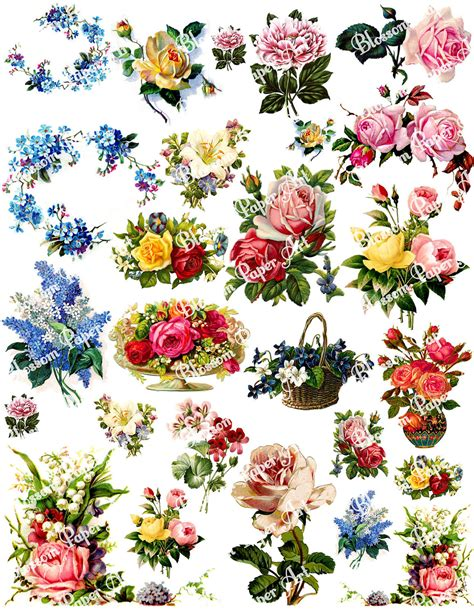 Flowers With Papers - vintage flowers digital collage sheet decoupage