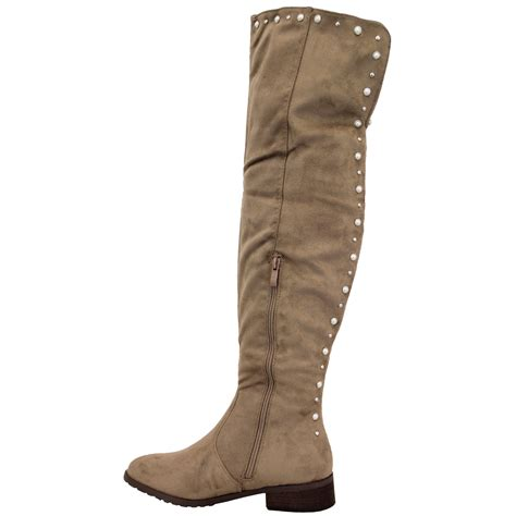 boots womens the knee shoes suede look