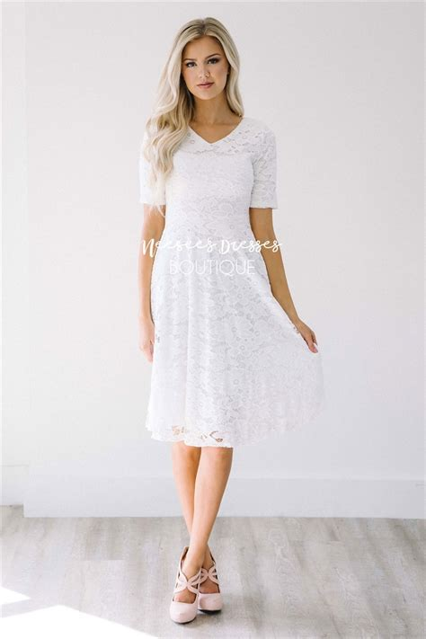 Dress White pretty white lace modest dress modest bridesmaids