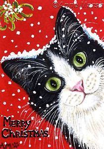 aceo tuxedo cat merry christmas  edition print fantasy painting anne marsh christmas cats
