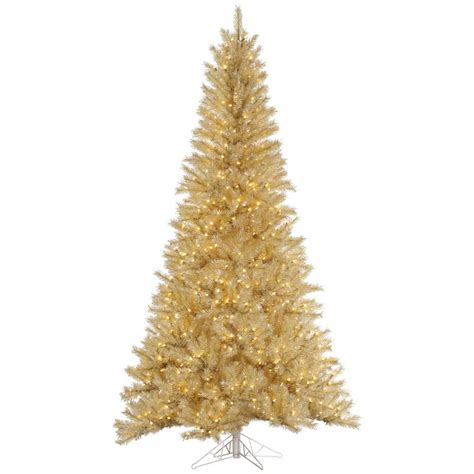 7 5 foot white gold tinsel christmas tree all lit lights