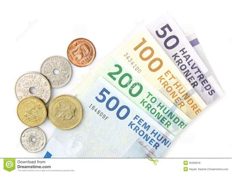 currency dkk kroner coins and folded banknotes stock photo
