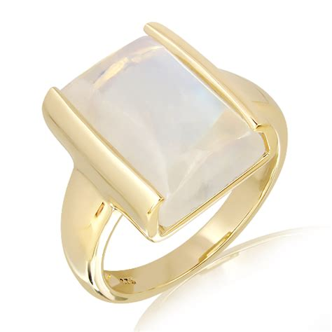 Handcrafted Gold Rings - rainbow moonstone handmade ring in gold