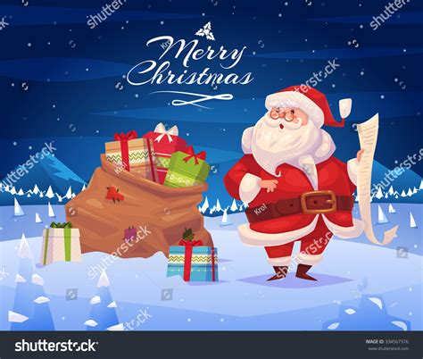 Topi Santa Sinterklas Natal Merry Christmast Happy New Year santa presents greeting card stock vector 334567376