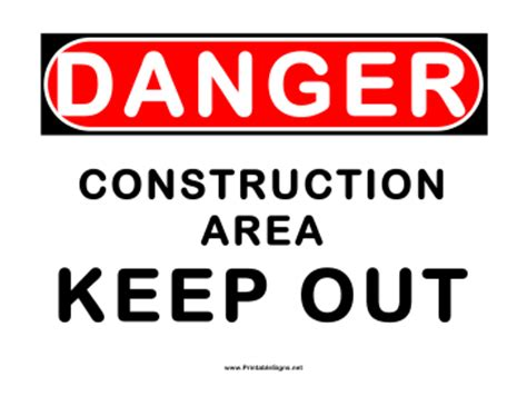 Construction Site Free Printable Construction Site Signs Free Construction Sign Templates