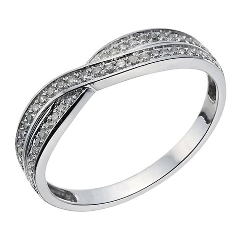 9ct white gold crossover 15 point wedding ring