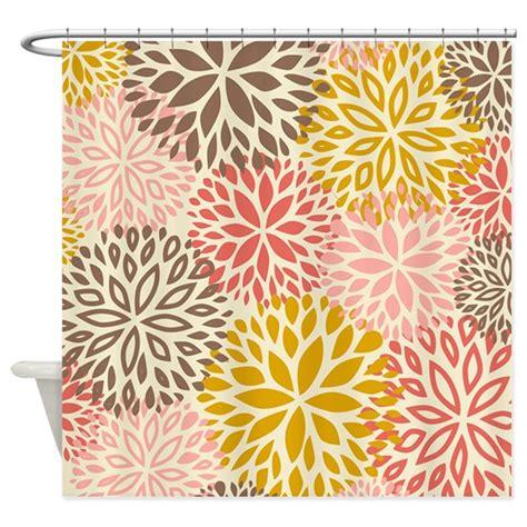 brown pattern shower curtain vintage floral pattern pink brown shower curtain by
