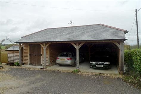 Oak Car Port by Oak Car Port With Enclosed Storage Room