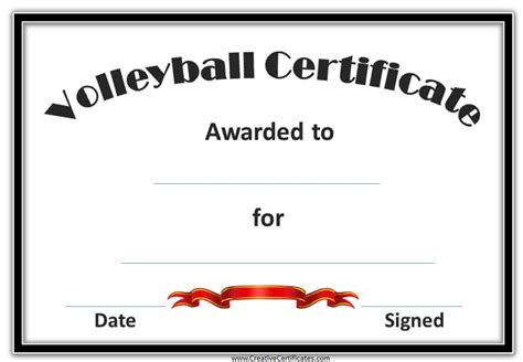 printable certificates for volleyball free printable volleyball award certificate template car