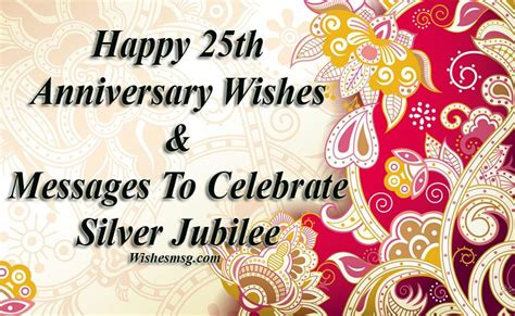 25th Anniversary Wishes Silver Jubilee by 25th Wedding Anniversary Wishes And Messages Wishesmsg