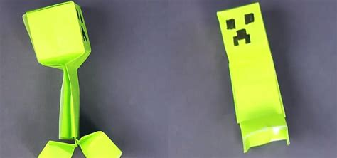 Origami Creeper - how to fold a simple minecraft creeper 171 minecraft
