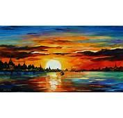SUNRISE IN THE HARBOR — PALETTE KNIFE Oil Painting On