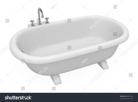model in bathtub empty bathtub 3d model over white stock illustration