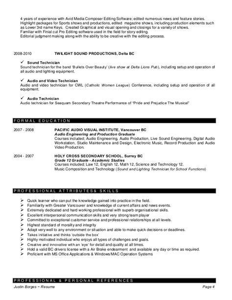 Non Linear Editor Sle Resume by Justin Borges Resume