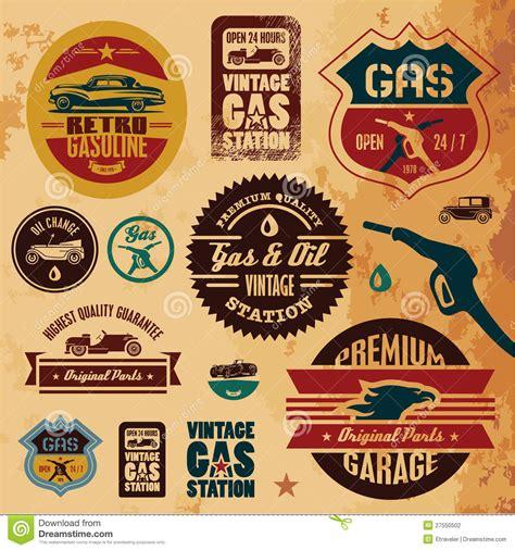 Workshop Garage Plans Vintage Gasoline Labels Stock Vector Image Of Garage